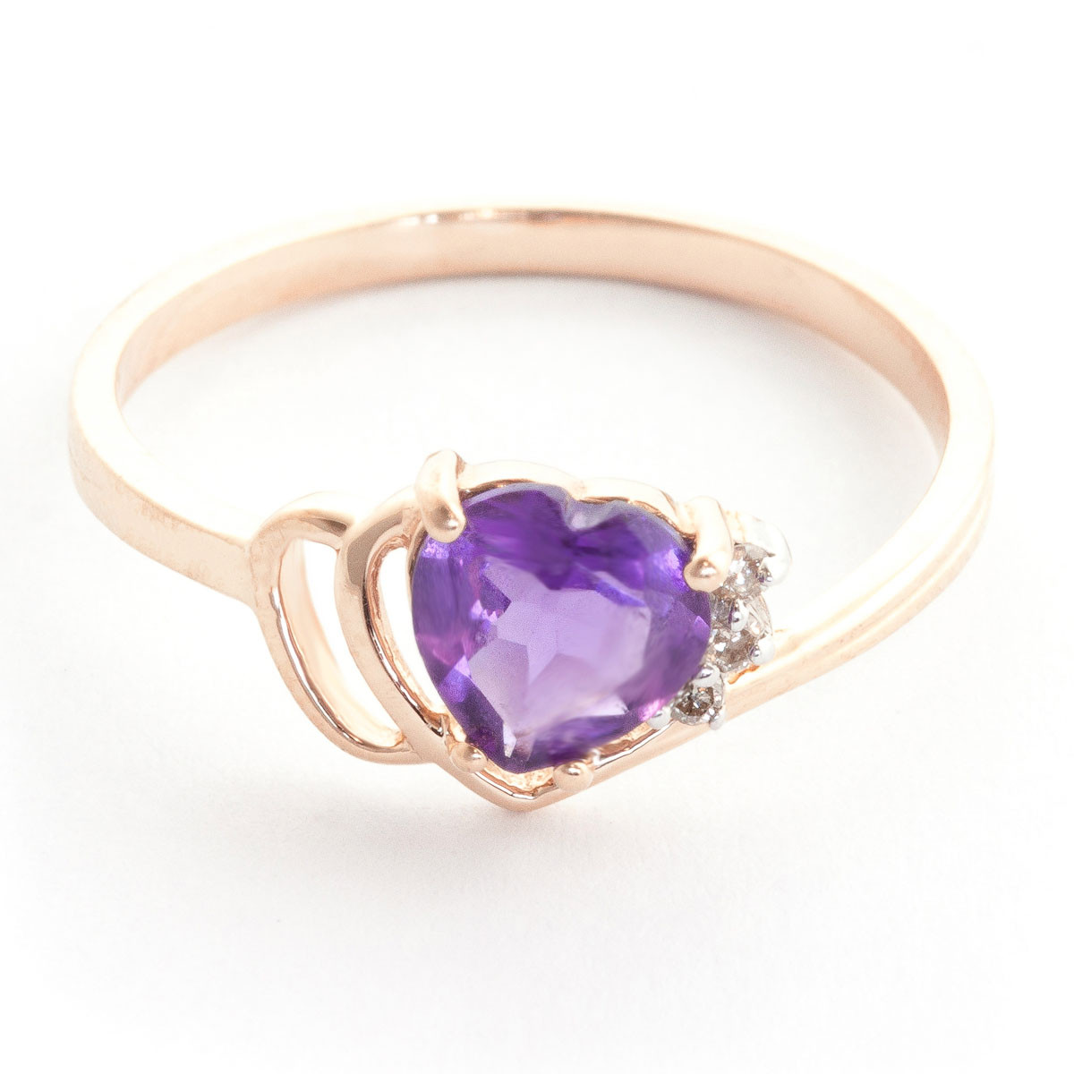 Amethyst & Diamond Passion Ring in 9ct Rose Gold