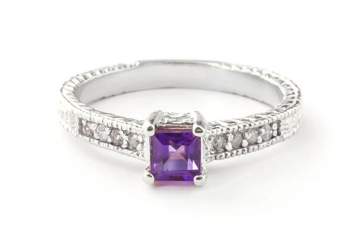 Amethyst & Diamond Shoulder Set Ring in 9ct White Gold