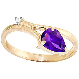 Amethyst & Diamond Top & Tail Ring in 9ct Gold