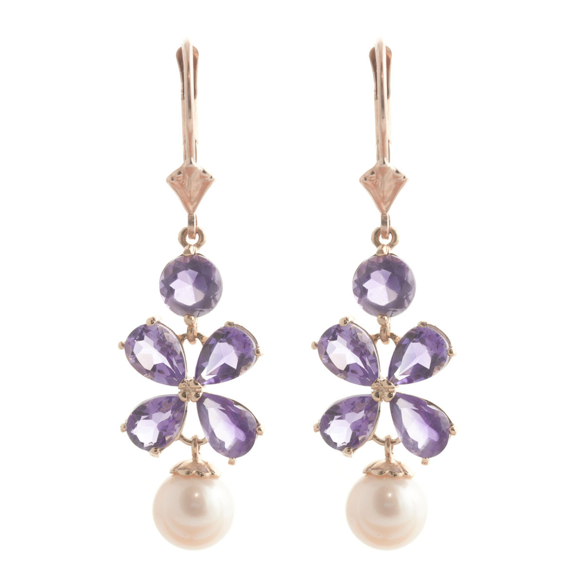 Amethyst & Pearl Blossom Drop Earrings in 9ct Rose Gold