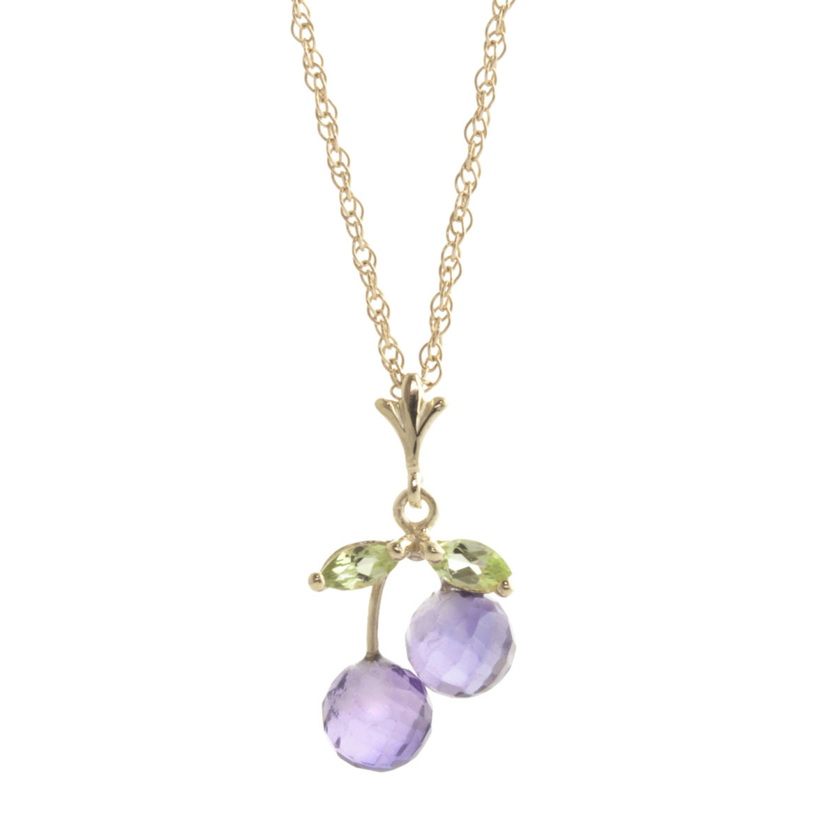 Amethyst & Peridot Cherry Drop Pendant Necklace in 9ct Gold