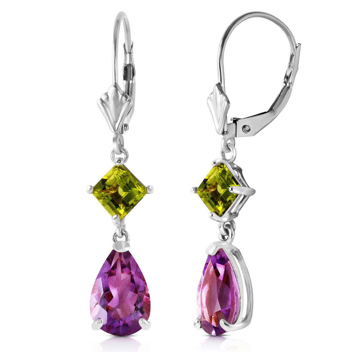Amethyst & Peridot Droplet Earrings in 9ct White Gold