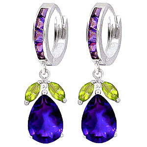 Amethyst & Peridot Huggie Drop Earrings in 9ct White Gold