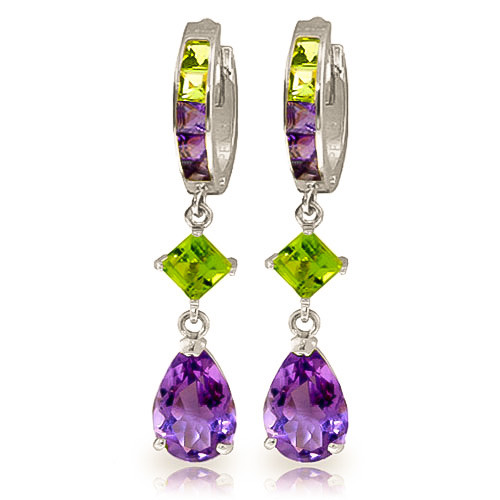 Amethyst & Peridot Huggie Earrings in 9ct White Gold