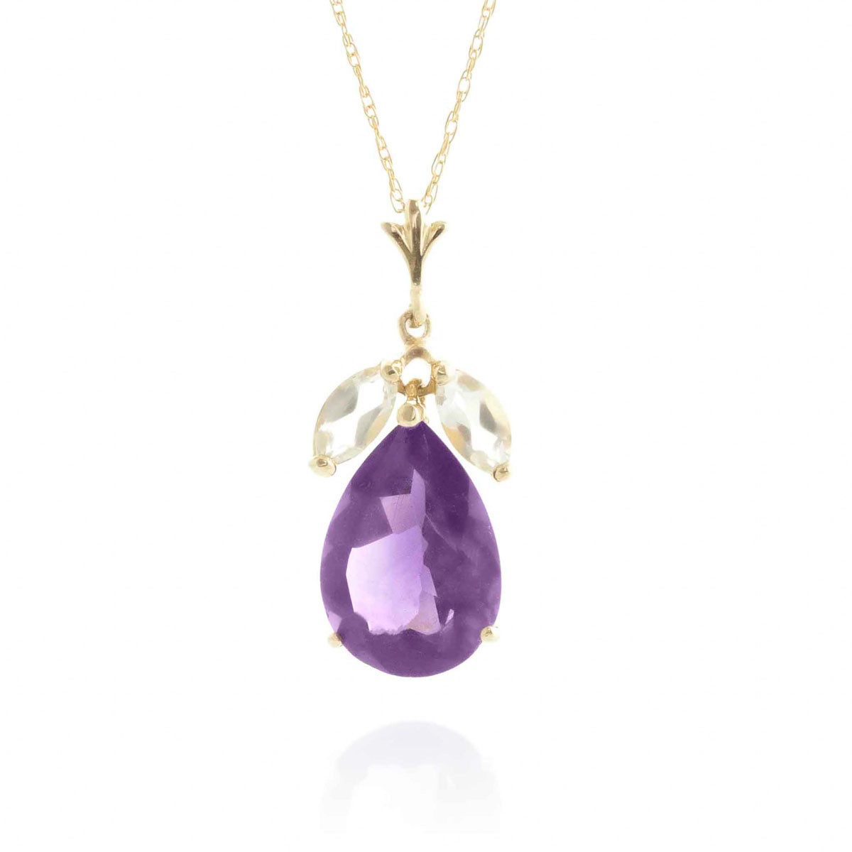 Amethyst & White Topaz Pear Drop Pendant Necklace in 9ct Gold
