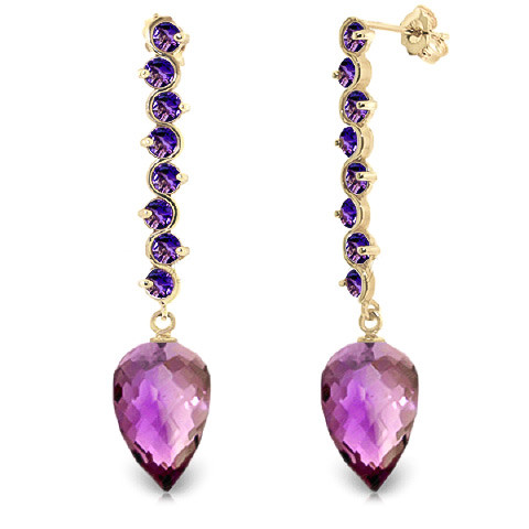 Amethyst Briolette Drop Earrings 22.1 ctw in 9ct Gold