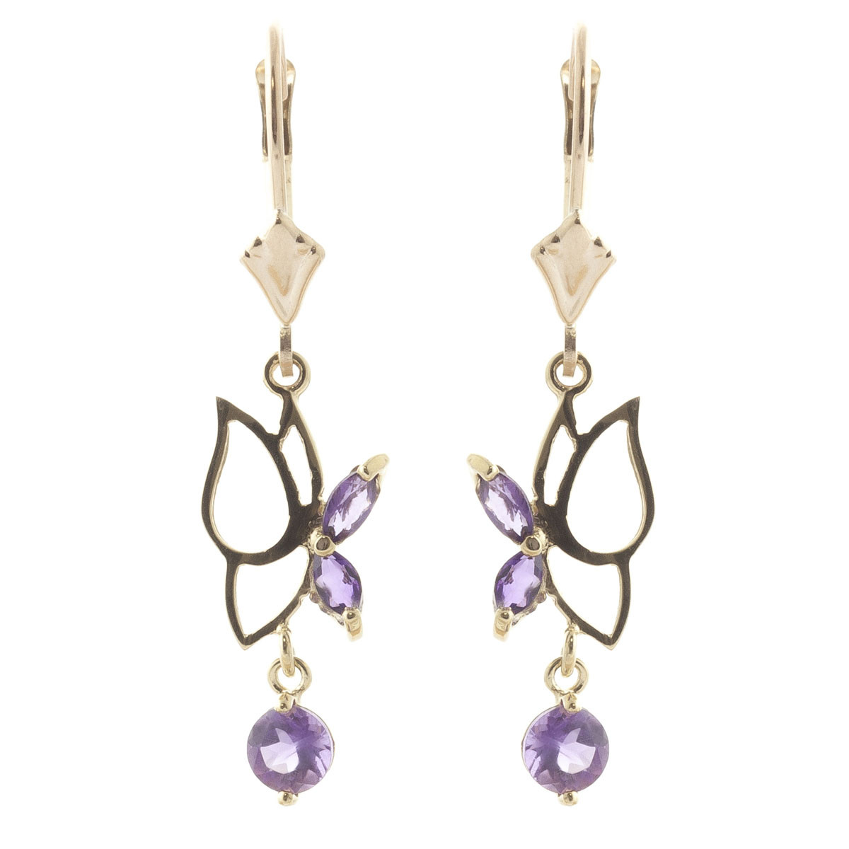 Amethyst Butterfly Drop Earrings 0.35 ctw in 9ct Gold