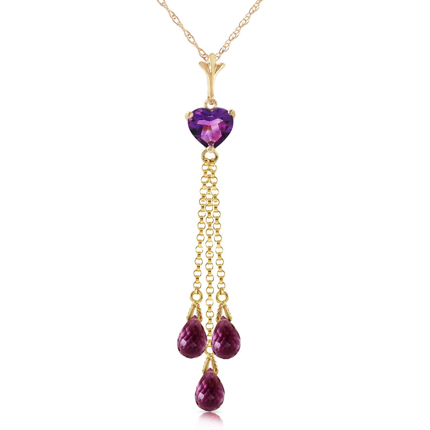 Amethyst Comet Tail Pendant Necklace 4.75 ctw in 9ct Gold