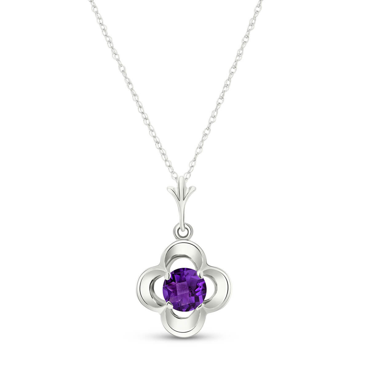 Amethyst Corona Pendant Necklace 0.55 ct in 9ct White Gold