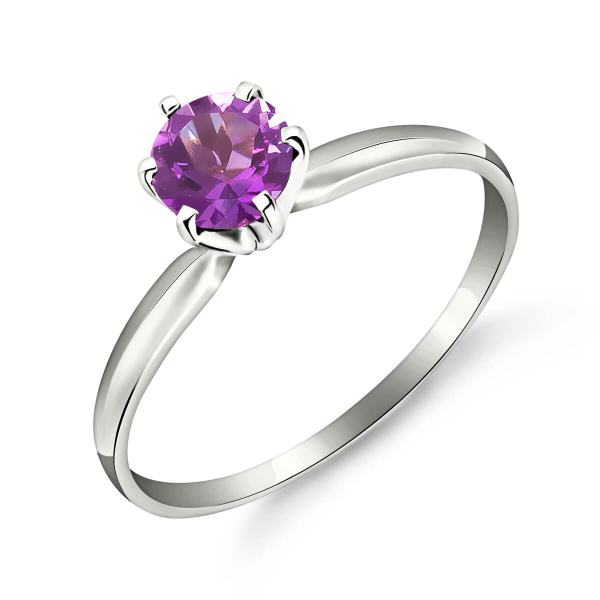 Amethyst Crown Solitaire Ring 0.65 ct in 9ct White Gold