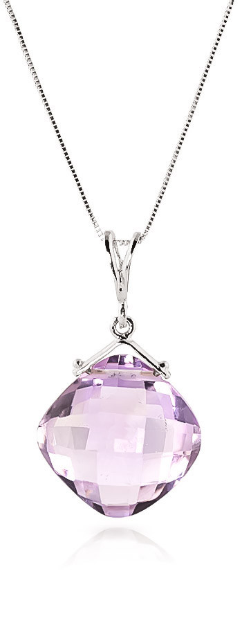 Amethyst Cushion Pendant Necklace 8.75 ct in 9ct White Gold