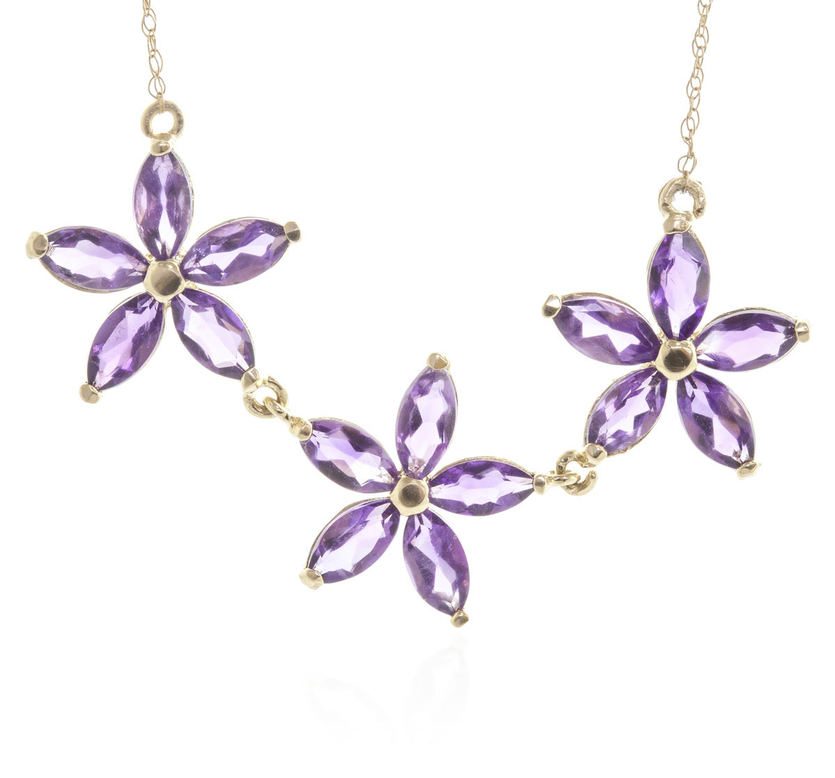 Amethyst Daisy Chain Pendant Necklace 4.2 ctw in 9ct Gold