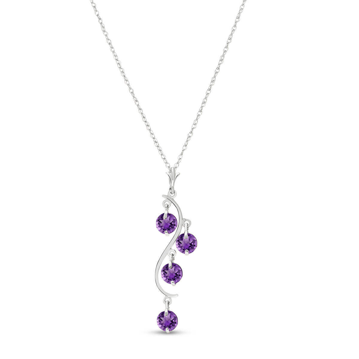 Amethyst Dream Catcher Pendant Necklace 2.25 ctw in 9ct White Gold
