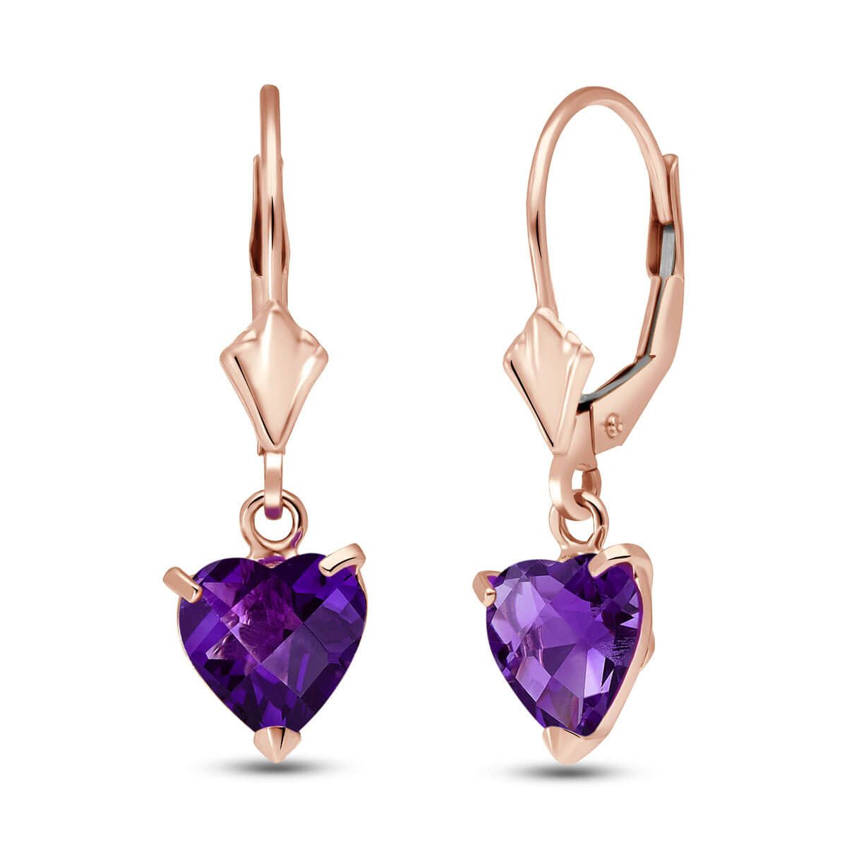 Amethyst Drop Earrings 3.25 ctw in 9ct Rose Gold