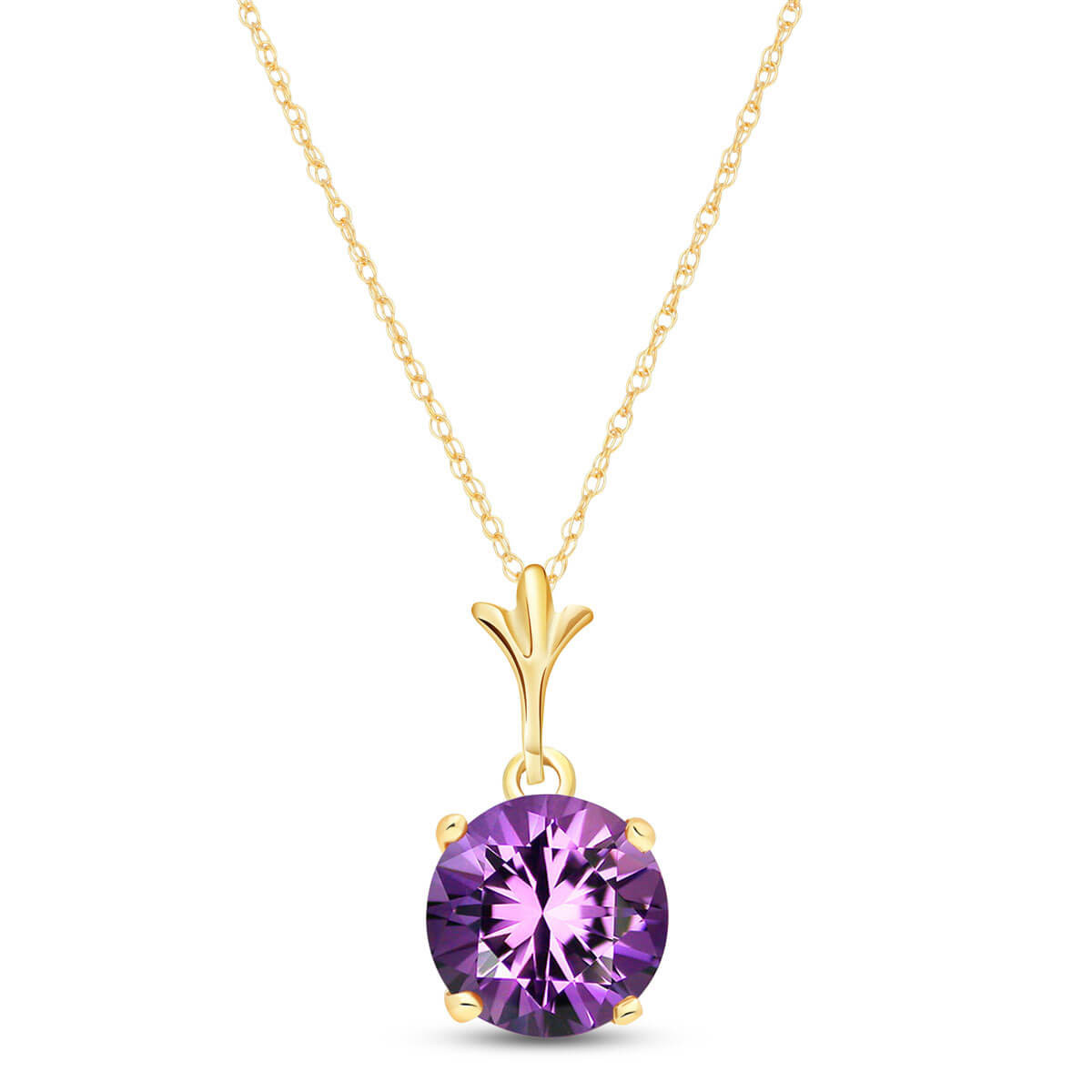 Amethyst Drop Pendant Necklace 1.15 ct in 9ct Gold