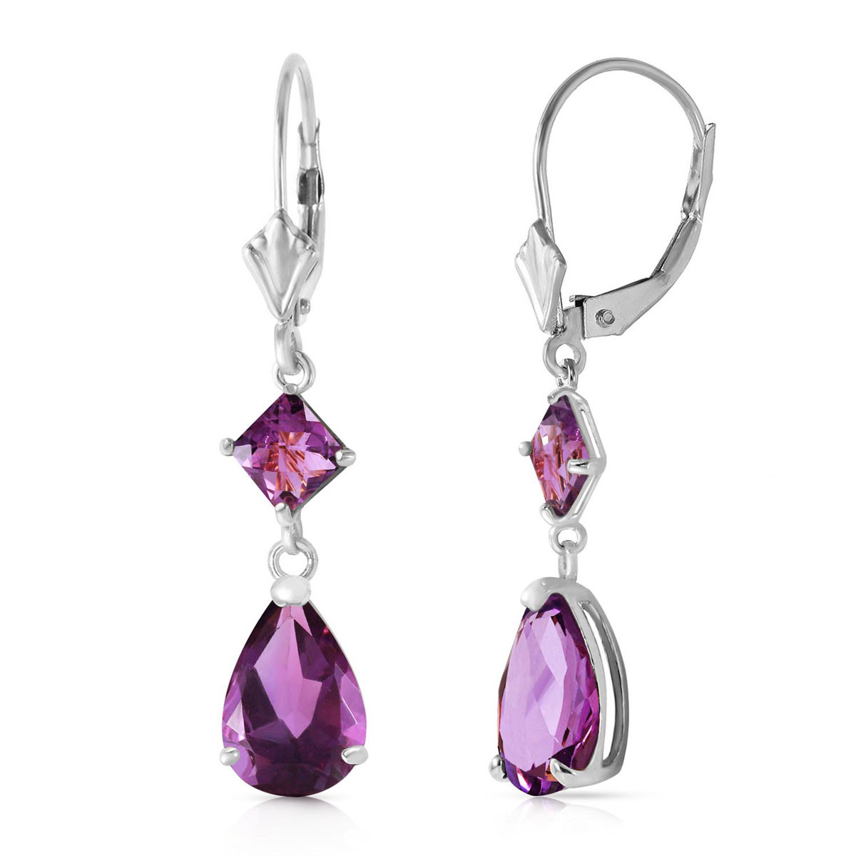 Amethyst Droplet Earrings 4.5 ctw in 9ct White Gold