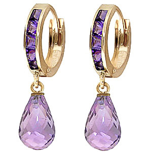 Amethyst Droplet Huggie Earrings 5.35 ctw in 9ct Gold