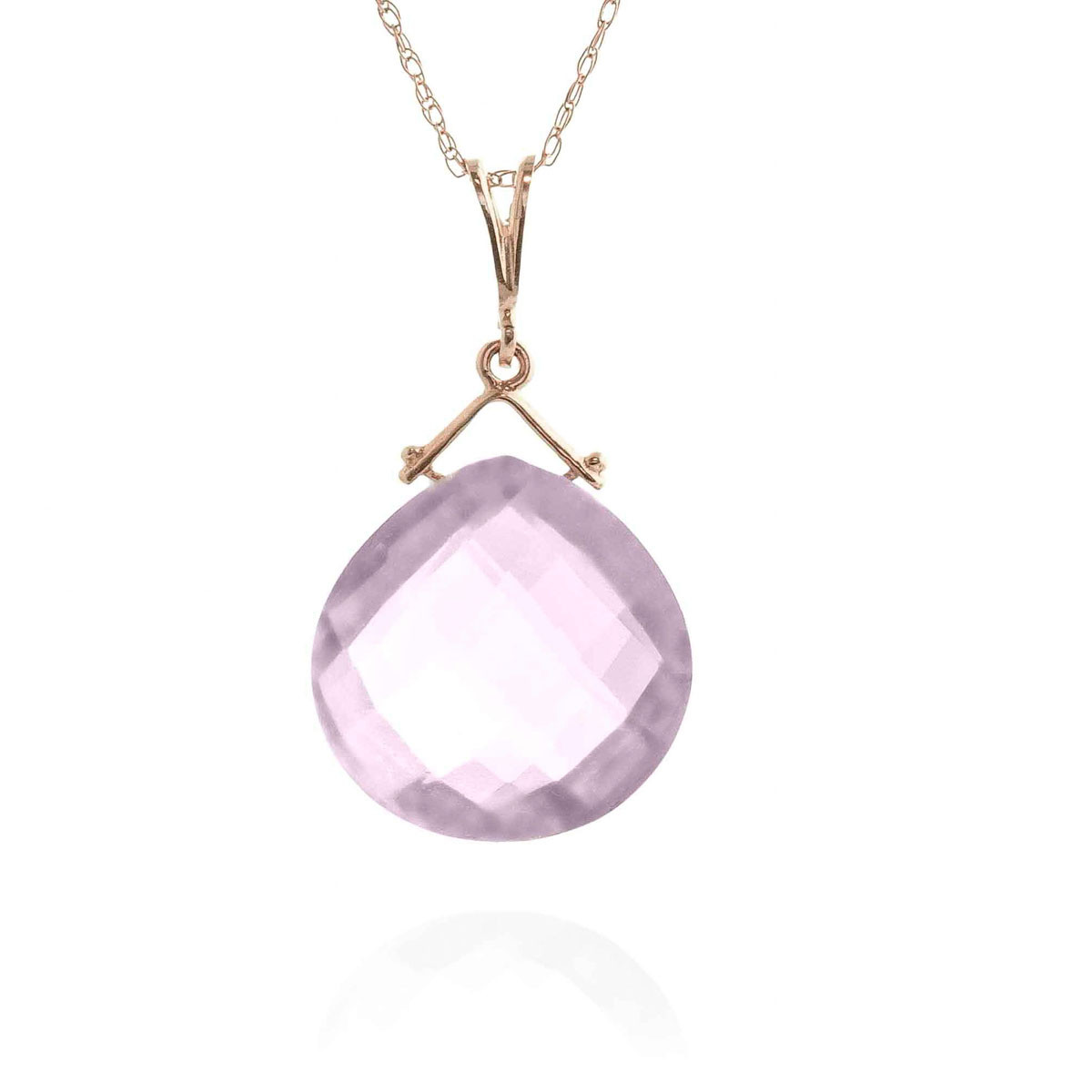 Amethyst Elliptical Pendant Necklace 8.5 ct in 9ct Rose Gold