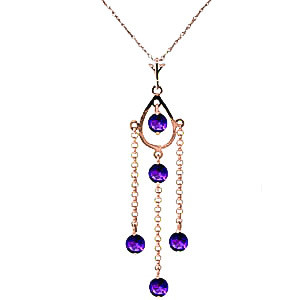 Amethyst Faro Pendant Necklace 1.5 ctw in 9ct Rose Gold