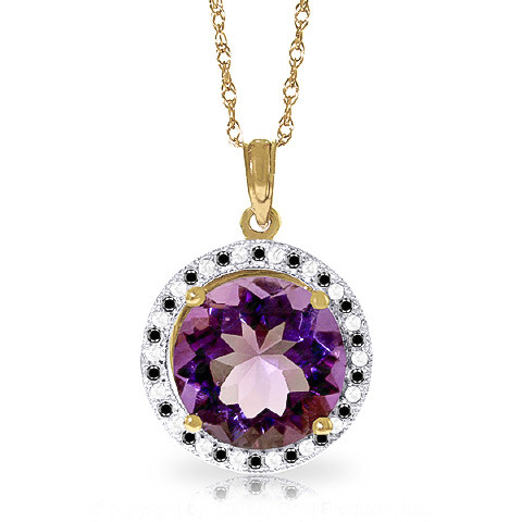 Amethyst Halo Pendant Necklace 6.2 ctw in 9ct Gold