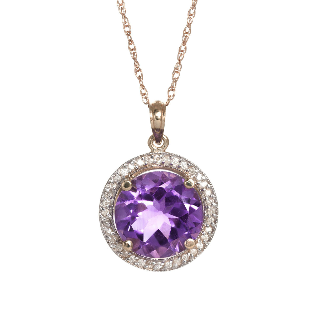 Amethyst Halo Pendant Necklace 6.2 ctw in 9ct Rose Gold