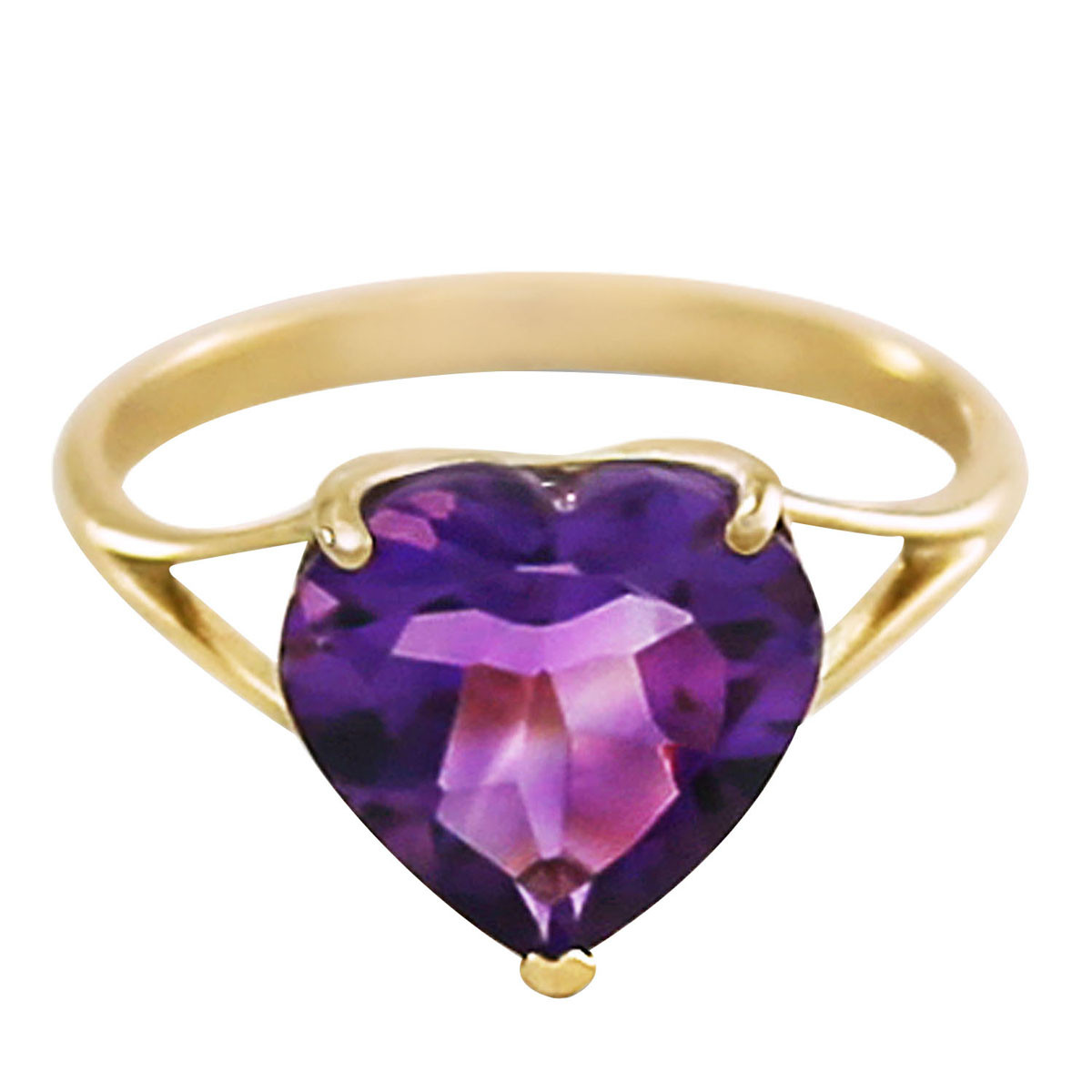 Amethyst Large Heart Ring 3.1 ct in 9ct Gold