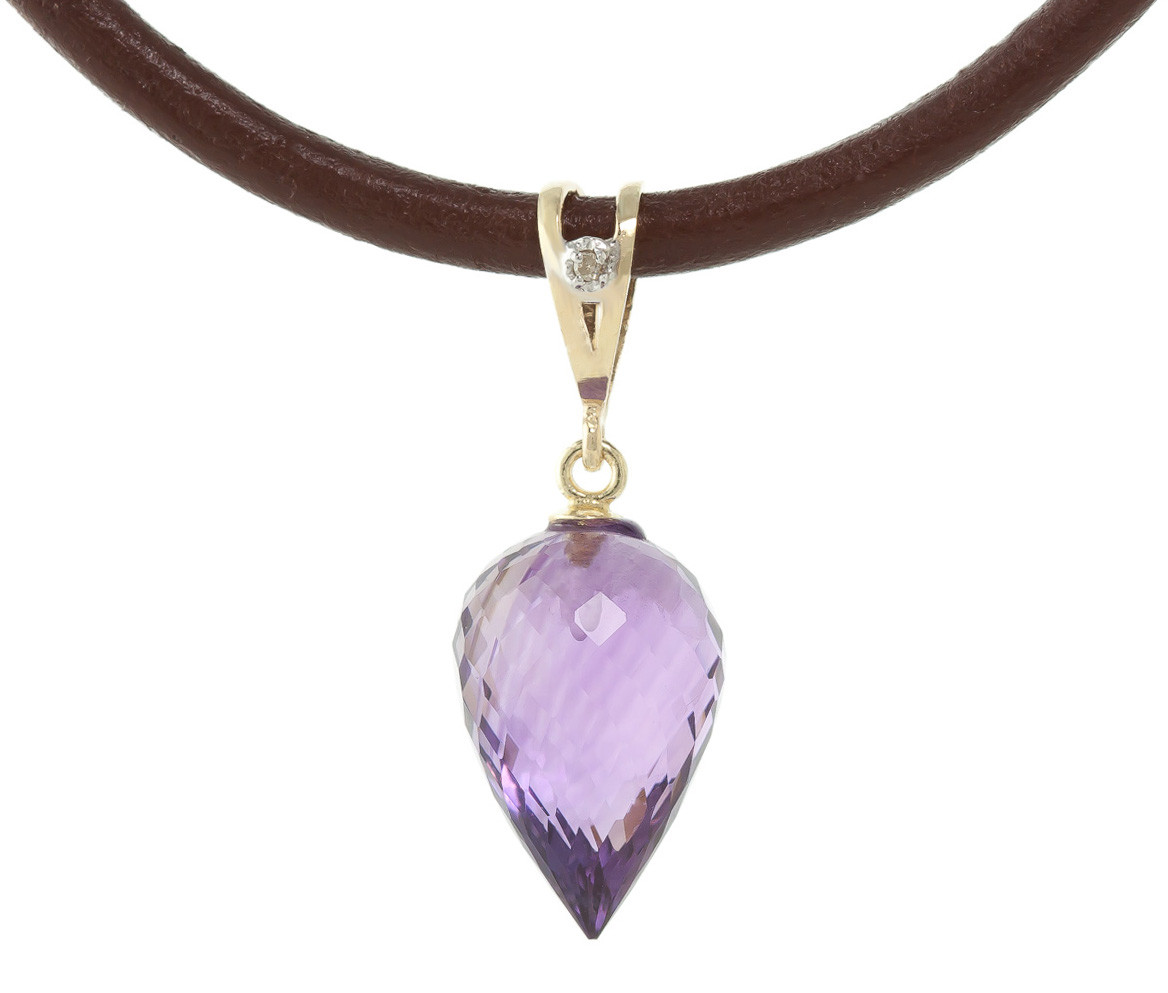Amethyst Leather Pendant Necklace 9.51 ctw in 9ct Gold