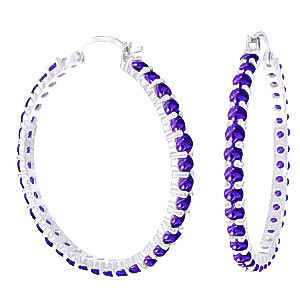 Amethyst Metro Hoop Earrings 6 ctw in 9ct White Gold