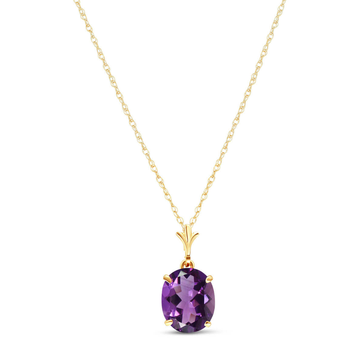 Amethyst Oval Pendant Necklace 3.12 ct in 9ct Gold