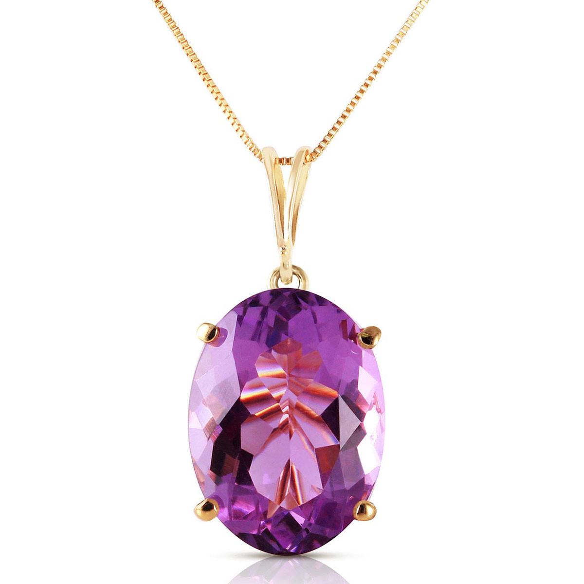 Amethyst Oval Pendant Necklace 7.55 ct in 9ct Gold