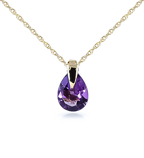 Amethyst Pear Drop Pendant Necklace 0.68 ct in 9ct Gold