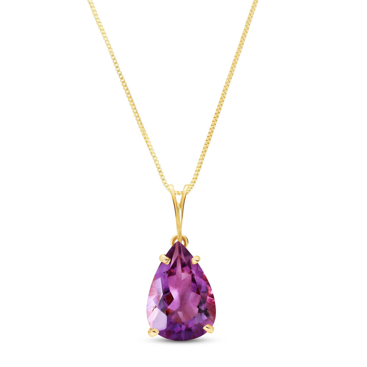 Amethyst Pear Drop Pendant Necklace 5 ct in 9ct Gold