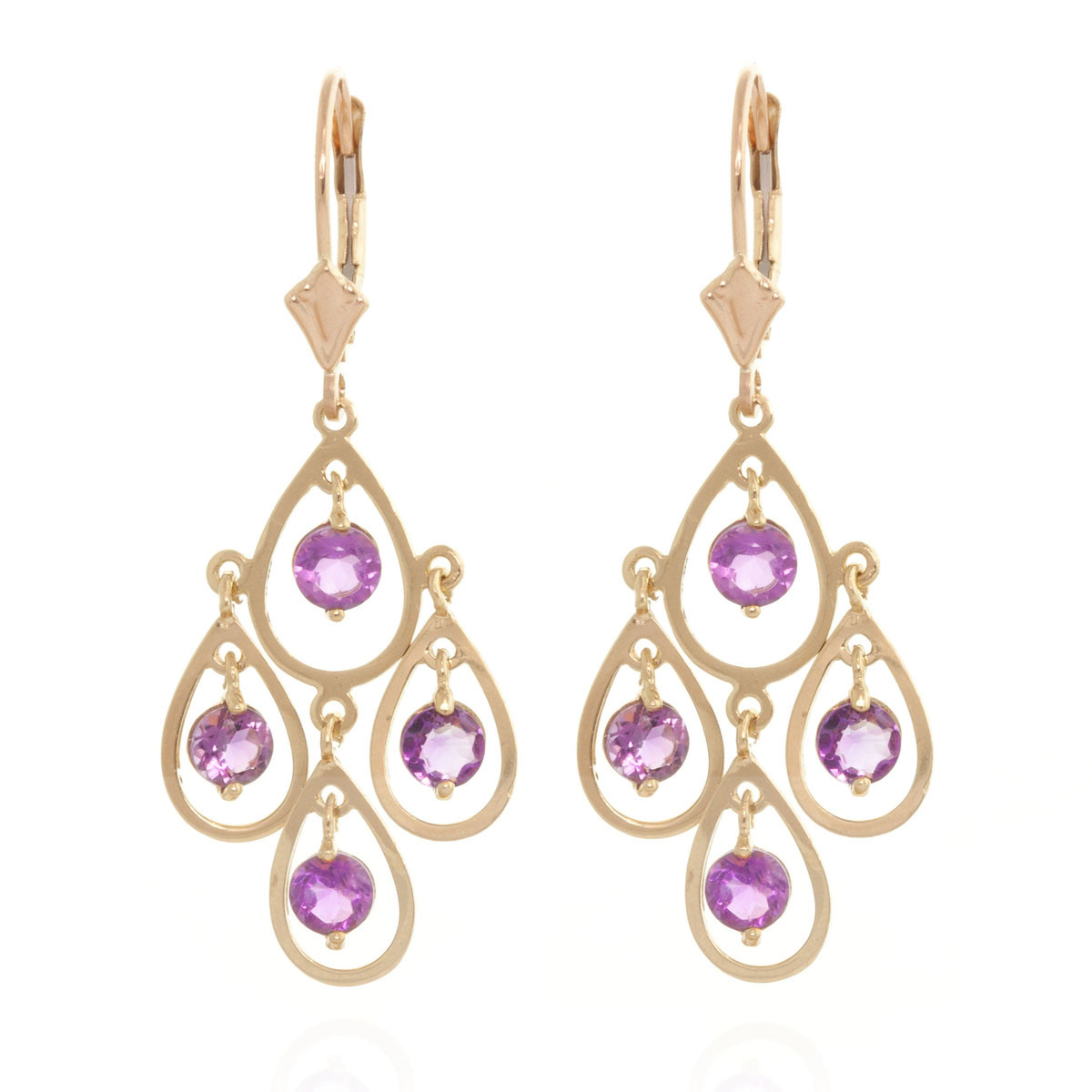 Amethyst Quadruplo Milan Drop Earrings 2.4 ctw in 9ct Gold