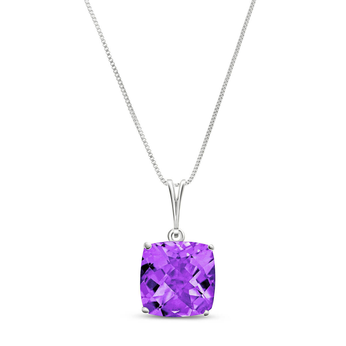 Amethyst Rococo Pendant Necklace 3.6 ct in 9ct White Gold