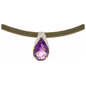 Amethyst Snowcap Leather Pendant Necklace 6 ct in 9ct White Gold