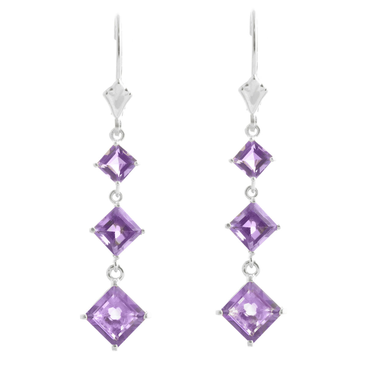 Amethyst Three Stone Drop Earrings 4.79 ctw in 9ct White Gold