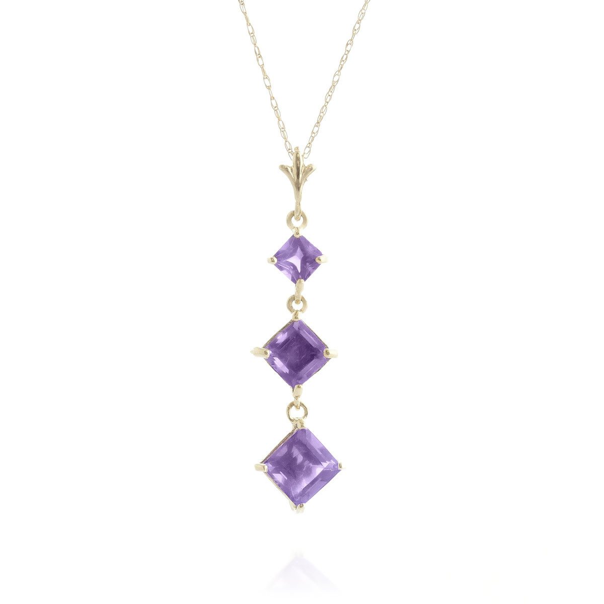 Amethyst Three Stone Pendant Necklace 2.4 ctw in 9ct Gold