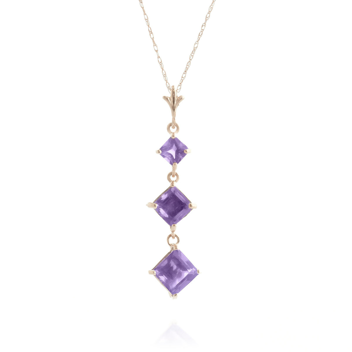 Amethyst Three Stone Pendant Necklace 2.4 ctw in 9ct Rose Gold