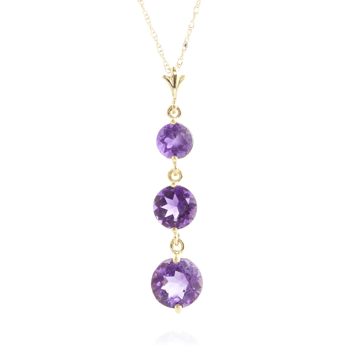 Amethyst Trinity Pendant Necklace 3.6 ctw in 9ct Gold