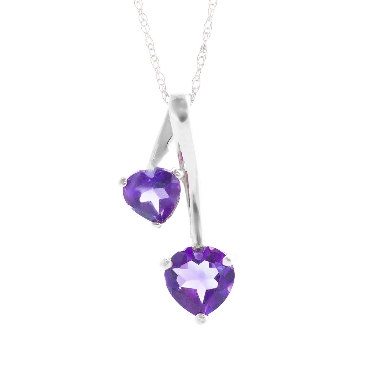 Amethyst Twin Pendant Necklace 1.4 ctw in 9ct White Gold