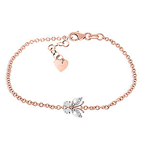 Aquamarine Adjustable Butterfly Bracelet 0.6 ctw in 9ct Rose Gold