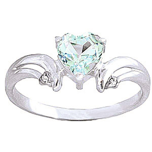 Aquamarine & Diamond Affection Heart Ring in 9ct White Gold
