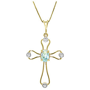Aquamarine & Diamond Cross Pendant Necklace in 9ct Gold