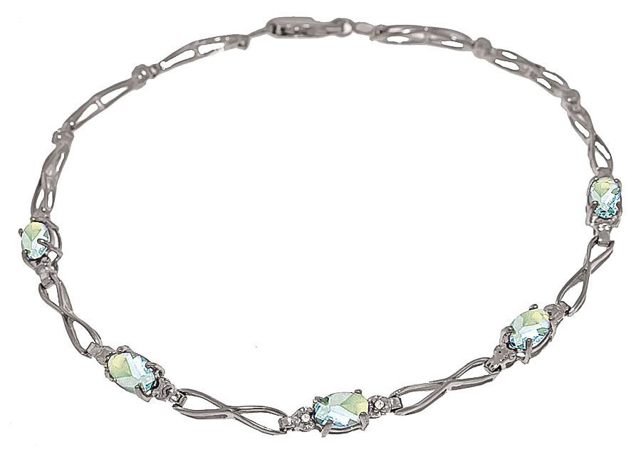 Aquamarine & Diamond Evert Tennis Bracelet in 9ct White Gold