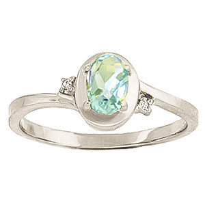 Aquamarine & Diamond Meridian Ring in 9ct White Gold