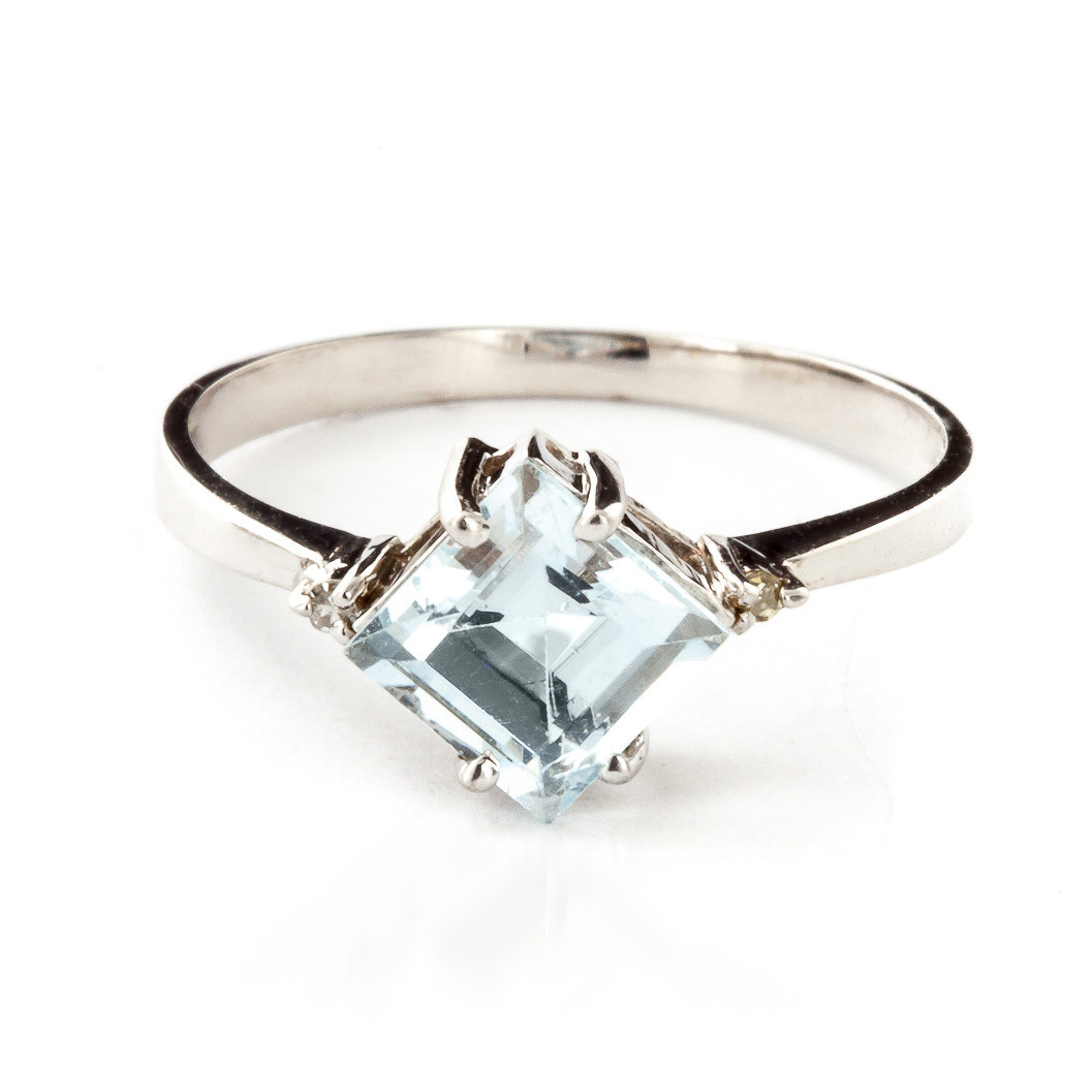 Aquamarine & Diamond Princess Ring in 9ct White Gold