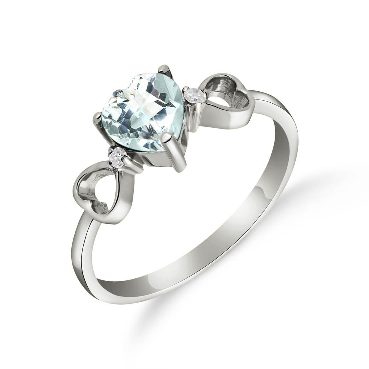 Aquamarine & Diamond Trinity Ring in 9ct White Gold