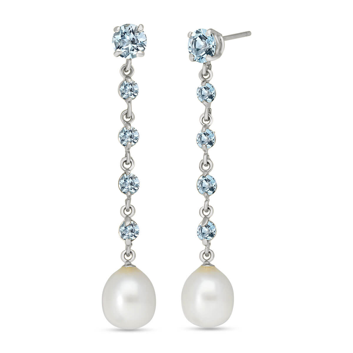 Aquamarine & Pearl by the Yard Drop Earrings in 9ct White Gold