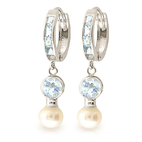 Aquamarine & Pearl Hoop Earrings in 9ct White Gold