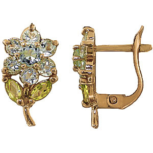 Aquamarine & Peridot Flower Petal Stud Earrings in 9ct Gold